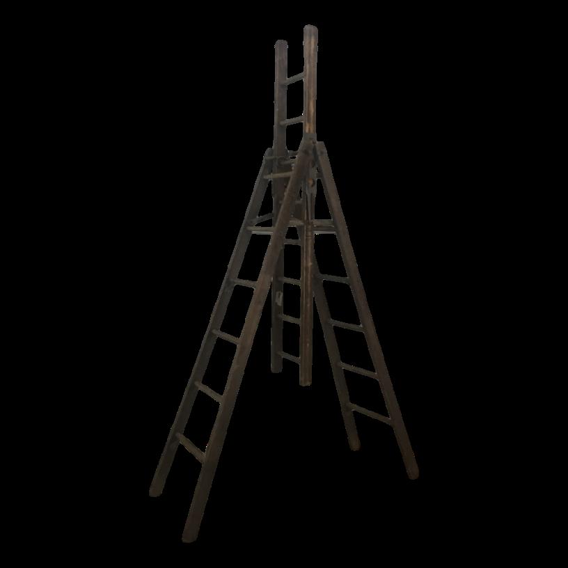 Vintage Antique Rustic Wooden Orchard Trestle Extension Apple Ladder Farm Decor