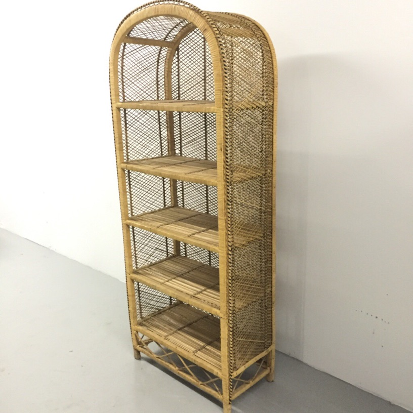 Southwestern Woven Wicker Bookcase Dome Top 5 Shelf Rattan Vintage Display Rack
