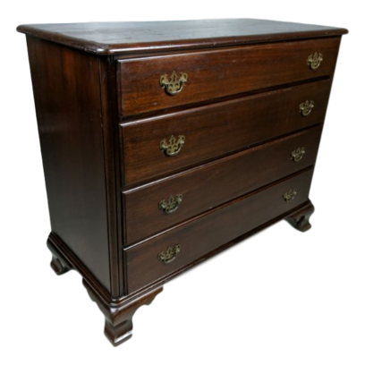 Vintage Chippendale Style 4 Drawer Bachelor Chest In Mahogany