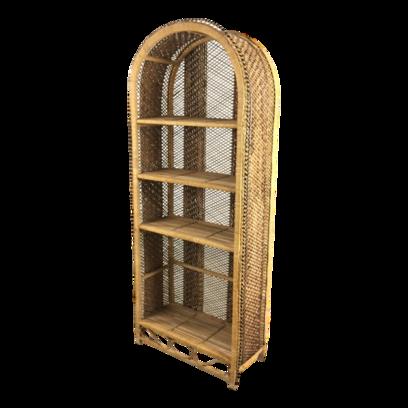 Vintage 4 Shelf Wicker Rattan Arched Display Shelving Unit