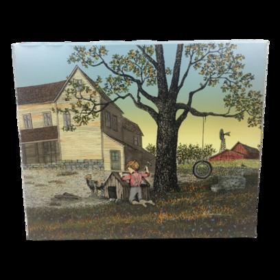 Farm Scene Boy Fixing Dog House Oil Painting On Canvas