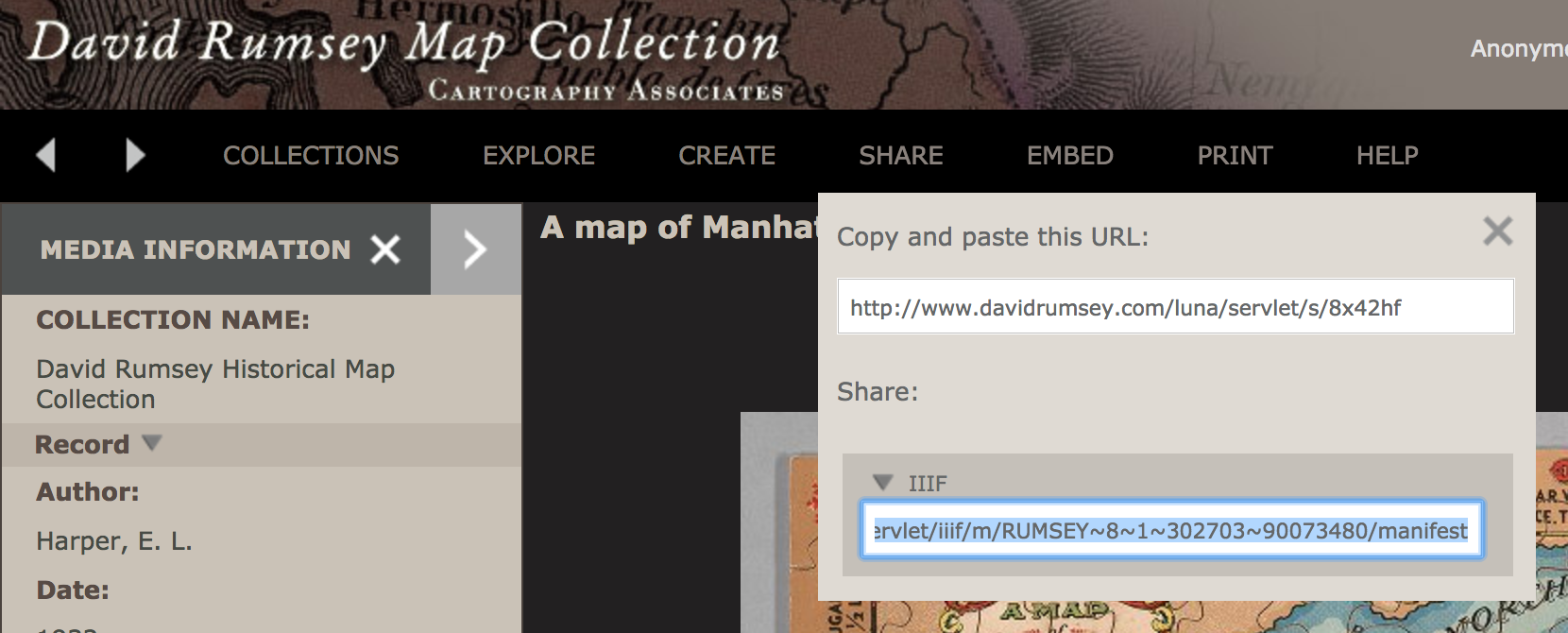 Image showing location of IIIF URL in David Rumsey Collection, under share, then IIIF