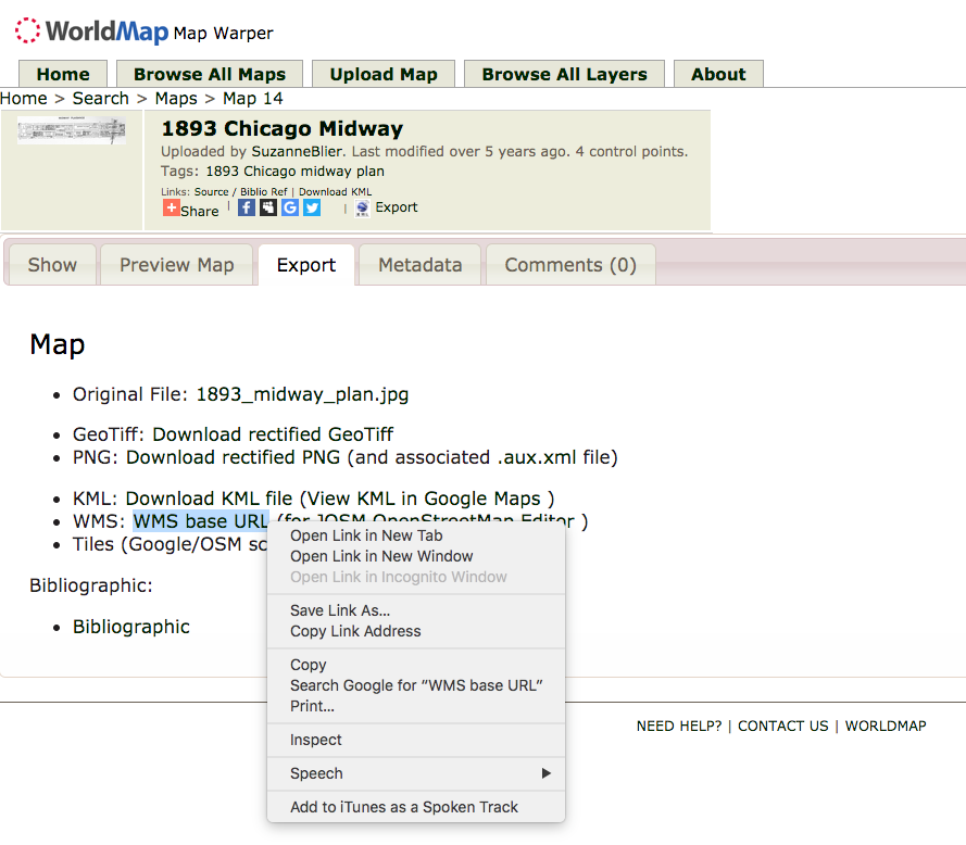 image showing right click on WMS base URL