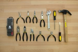 tool cart basic tools pliers wrench hammer screwdrivers