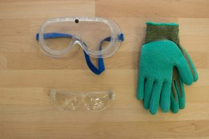 tool cart safety items eyeglasses and gloves