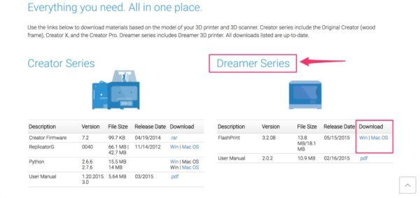 flashprint download screenshot dreamer series