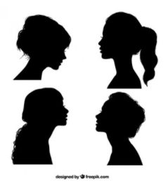 profile silhouettes black and white