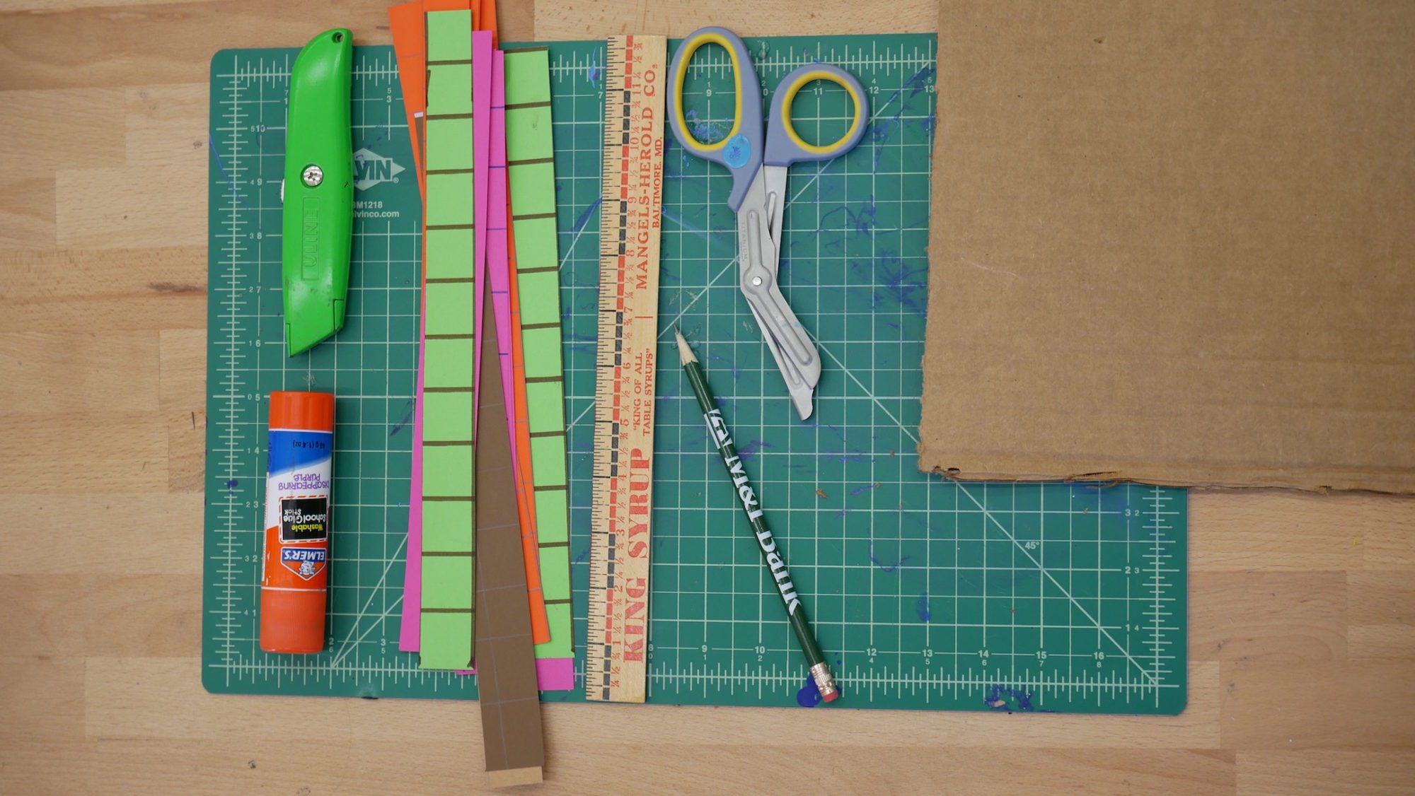 student pixel art project materials
