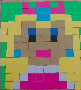 student pixel art project step 6 cut and paste pixel colors