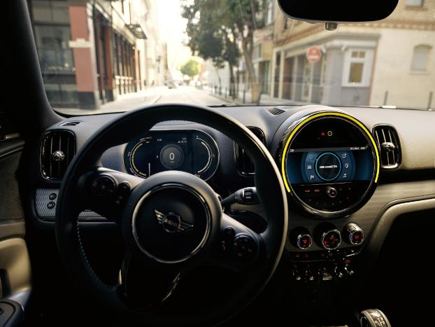 The MINI Cooper SE Countryman PHEV steering wheel.