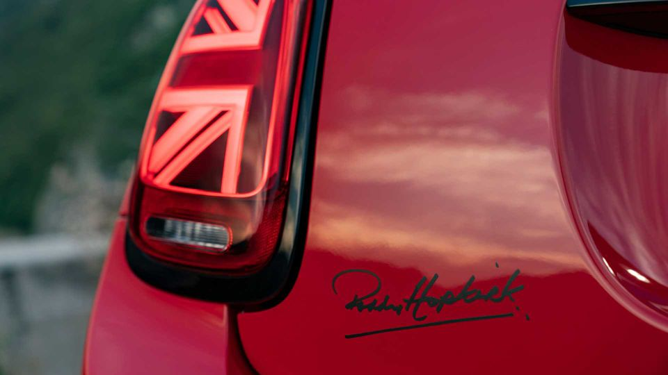 The Paddy Hopkirk signature on the rear of the MINI Cooper Paddy Hopkirk Edition.