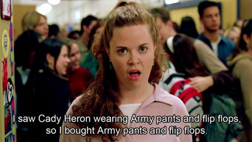 I saw Cady Heron wearing army pants and flip flops.