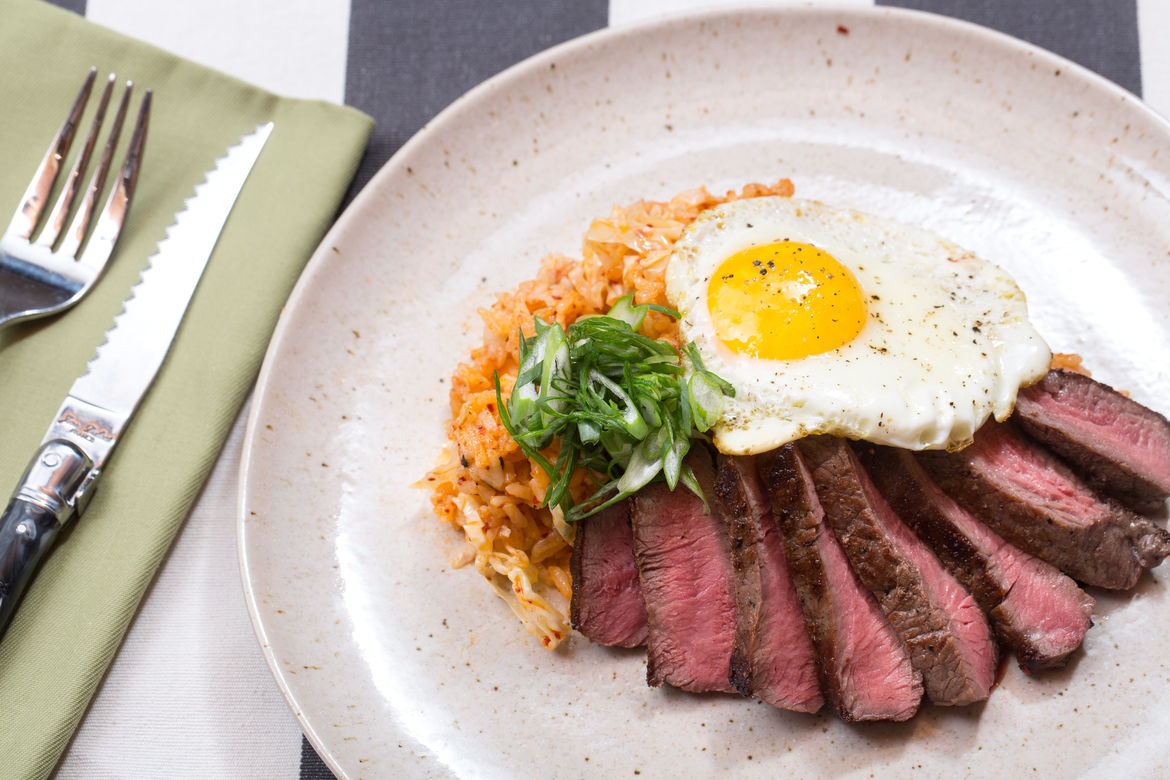 Blue Apron Steak and Eggs with Quick Kimchi Fried Rice