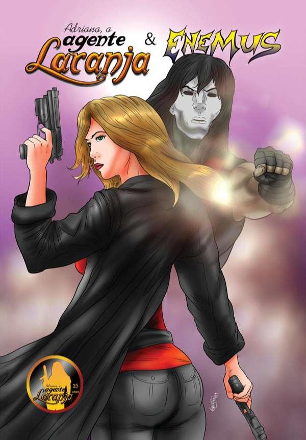 Nesta revista totalmente em cores temos algumas HQs da Adriana, a Agente Laranja com o Enemus, personagem do amigo Marcos Gratão, que produziu essa revista comigo.