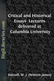 Critical and Historical Essays  Lectures delivered at Columbia University