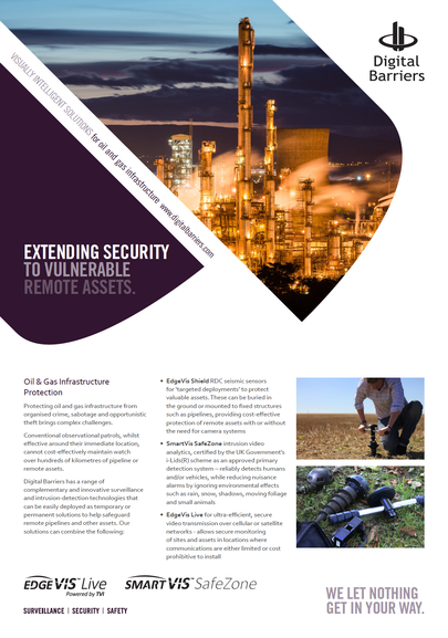 Front page of EdgeVis Shield for oil and gas pipelines