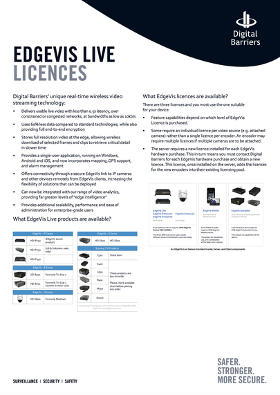 Front page of UK.D.011 EdgeVis Licences