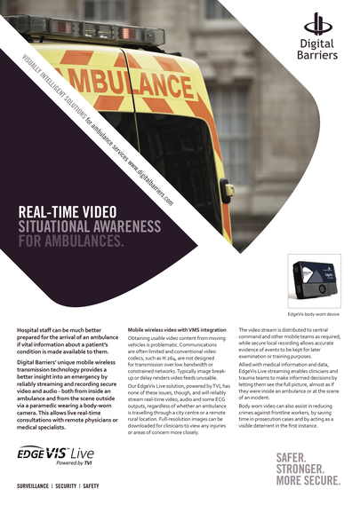 Front page of EdgeVis Live for ambulances