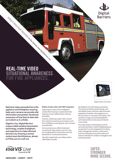 Front page of EdgeVis Live for fire appliances