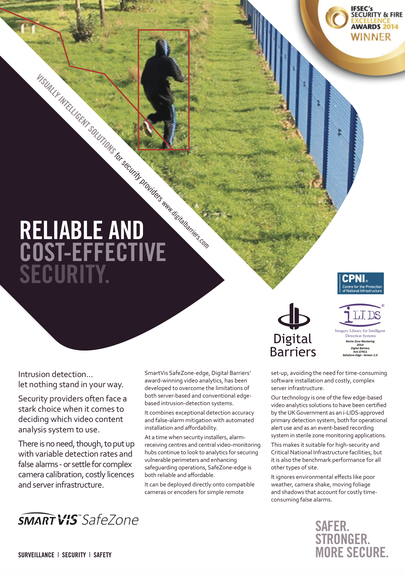 Front page of UK.F.023 Video analytics for security providers SafeZone-edge