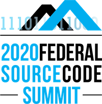 Logo for the 2020 Federal Source Code Summit has blue and black text on a white background.
