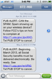 Screen shot showing text messages from the National Contact Center.