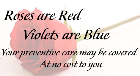 CDC Mobile Health eCard showing a red rose with the following message overlay Roses are Red, Violets are Blue, your preventive care may be covered at no cost to you