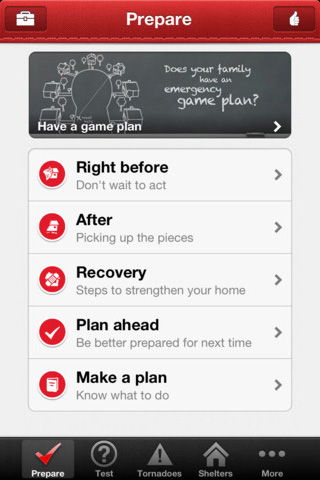 American Red Cross' Tornado app main screen showing options for Right Before, After, Recovery, Plan Ahead, and Make a plan