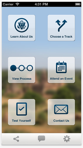 Dept of State's Careers app main screen showing the following options: learn about us; choose a track; view process, attend an event; test yourself; contact us.