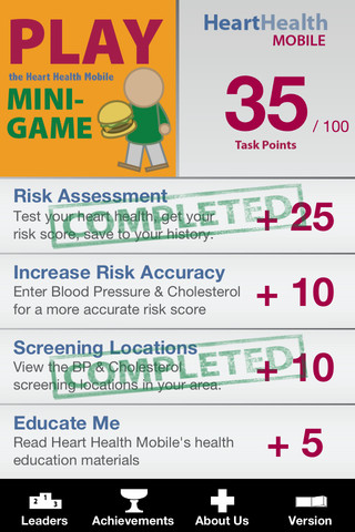 Heart Healthy App Screen showing completed mini game with scores for four different sections.