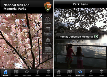 NPS' National Mall App showing the start screen with cherry blossoms and the following options: map, park lens, sites, tours, overview, programs and news, postcard, and park partner, and the second screen showing a park lens view of the tidal basin with two little girls looking across at the Jefferson Memorial and a label identifying the Jefferson Memorial as an overlay.