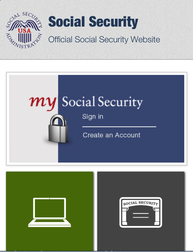 Social Security Administration Mobile Website