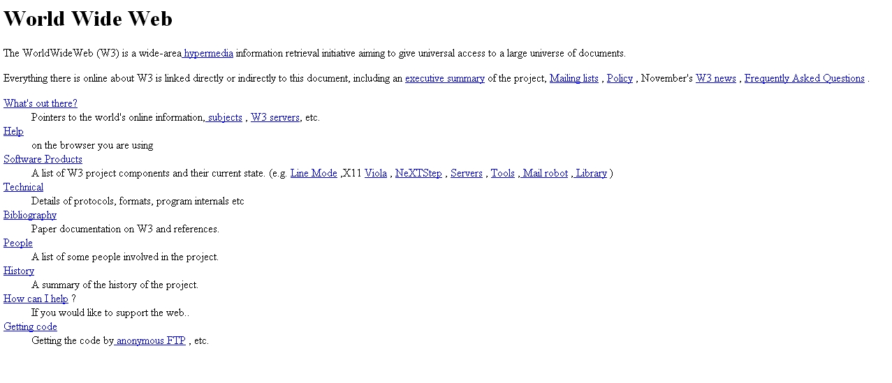 Screen shot of the very first world wide webpage. A sparse page with text and links. Click image to enlarge.