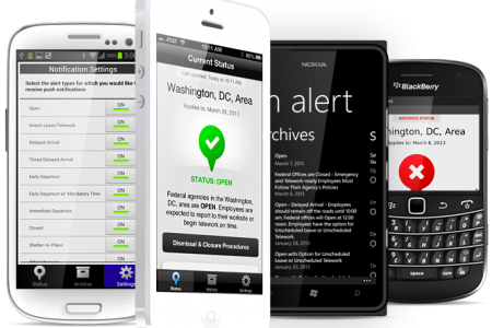 Screen shot of phone's displaying the U.S. Office of Personnel Management's mobile app OPM Alert.