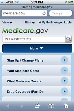 Medicare.gov mobile website screenshot