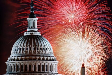 Fireworks go off around the capitol on the 4th of July