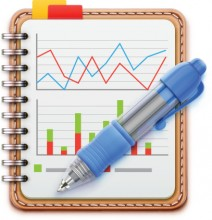 image of notebook with charts and a pen