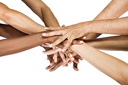 Group of hands; teamwork.