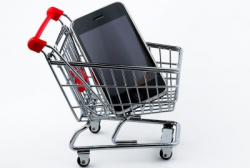 image of smartphone in shopping cart