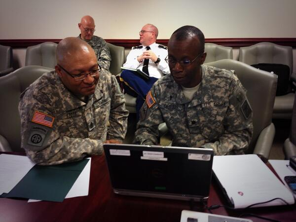 Image of Army chaplains holding Twitter chat.