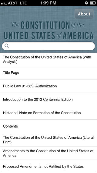 Home screen of the Constitution of the United States App showing menu options .