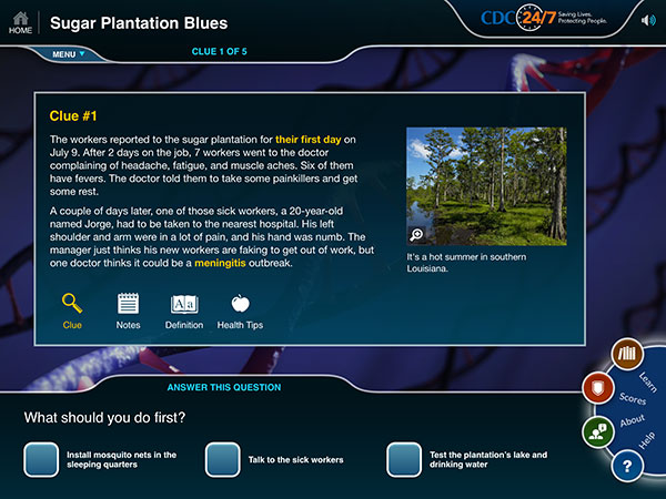 Screen shot of the first clue for the game Sugar Plantation Blues showing a photo of a swamp.