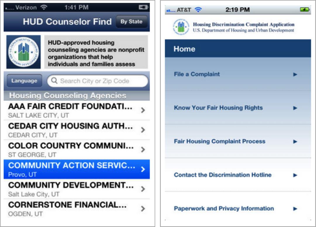 Screen shot showing HUD's mobile app home screens