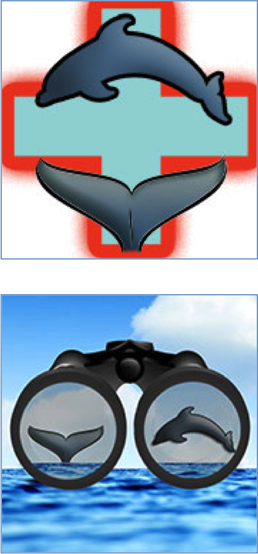 App icons for the NOAA apps: top image shows a whale tail in front of a red cross symbol, the bottom image show binoculars looking over the ocean with a whale tail in one eyepiece and a dolphin in the other eyepiece.