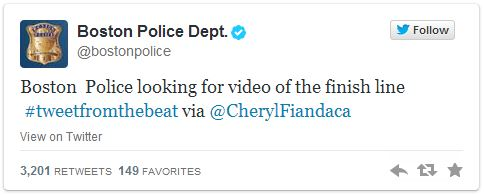 Tweet showing Boston Police looking for video from the Boston Marathon finish line.