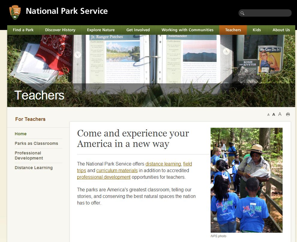 National Park Service screen shot of the teachers web page