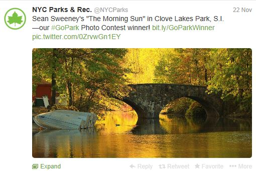 Tweet with photo announcing a winner in a contest.