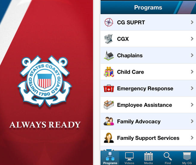Home Screen of USCG HSWL app showing the program options