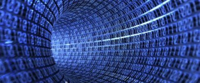 Tunnel made from blue digital bits