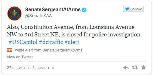 Tweet from Senate At Arms talking about road closures after an incident.